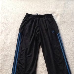 Men's black Adidas sweatpants blue stripes on side